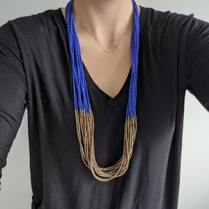 Unique Cobalt Beaded Statement Necklace
